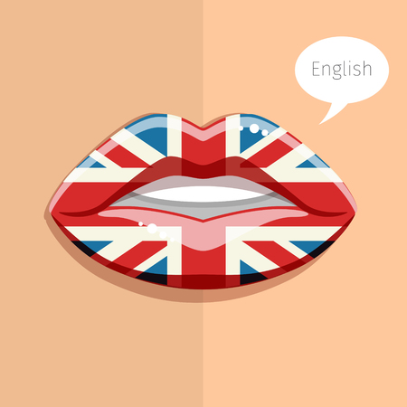 english language: English language concept. Glamour lips with make-up of the British flag, woman face. Flat design, vector illustration. Illustration