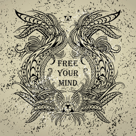 free your mind: Motivation Free your mind in ethnic frame. Text lettering of an inspirational saying. Quote Typography Poster Template. Vector illustration.