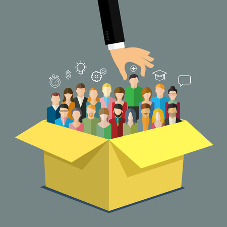 hiring: Businessman hand pointing at man in box with people. Business concept of personnel selection, hiring or recruitment. Flat design vector illustration.