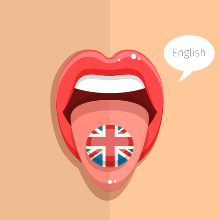 tongue woman: English language concept. English language tongue open mouth with flag of Britain, woman face. Flat design, vector illustration.