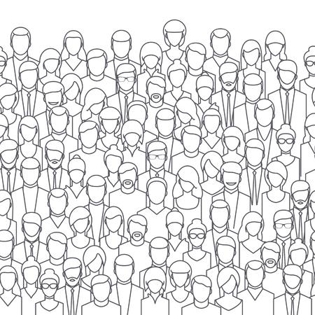 fila de personas: La multitud de personas abstractas, estilo de línea. Diseño plano, ilustración vectorial. Vectores