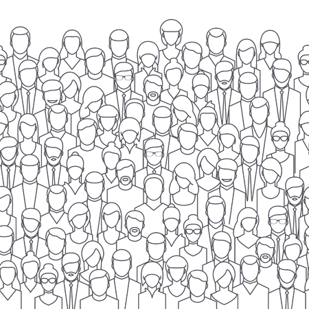 crowd: The crowd of abstract people, line style. Flat design, vector illustration.