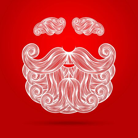 red beard: Christmas card with a beard and mustache of Santa Claus on red background. Vector illustration