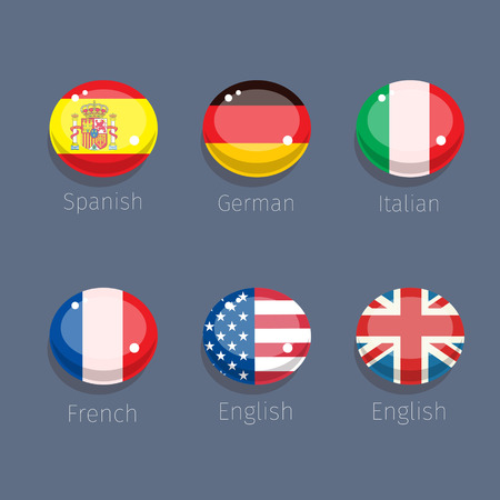 spanish language: Candy of language, languages icons with countries flags. Vector illustration