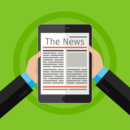 디지털 태블릿에서 뉴스를 읽고 사업가입니다. 평면 디자인, 벡터 일러스트 레이 션.