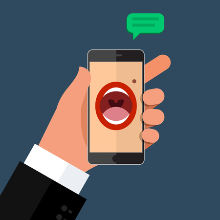using mouth: Phone speak concept. Man holding his hand phone with speaking womans mouth in display.