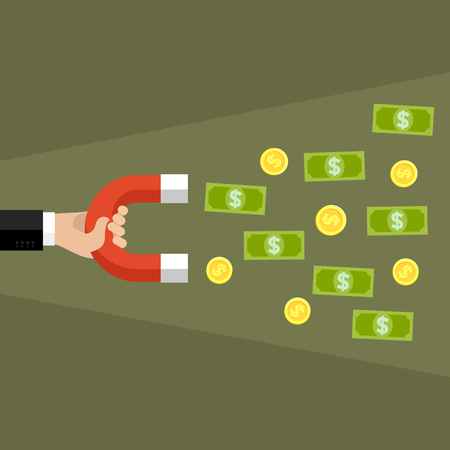 easy money: Concept of attracting investments. Hand holding magnet. Flat design, vector illustration