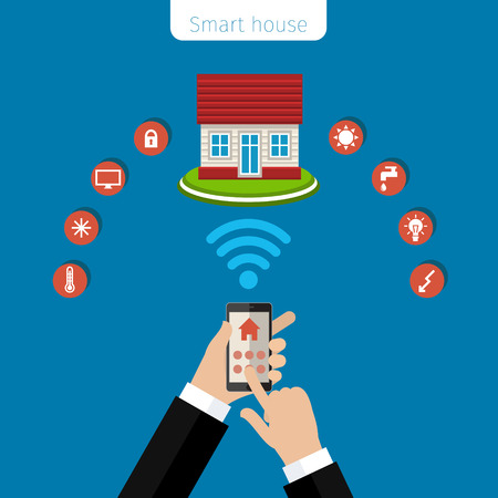 unrecognizable person: Concept of smart house. Smart house remote control flat modern technology web infographic vector.