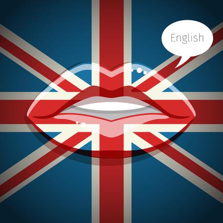 british english: English language concept. Glamour lips with make-up of the British flag, woman face. Flat design, vector illustration. Illustration