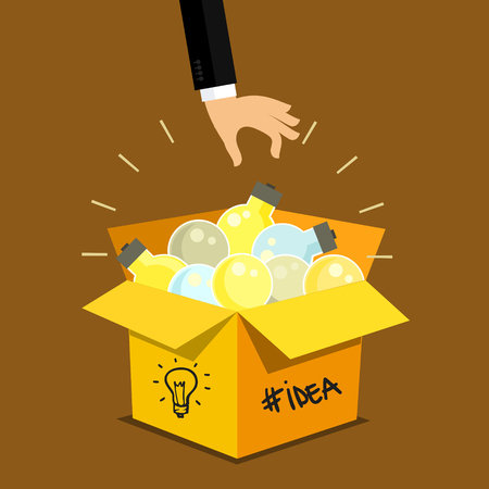 keep up: Concept of idea. Hand keep up symbol of idea - light bulb from idea box. Flat design, vector illustration