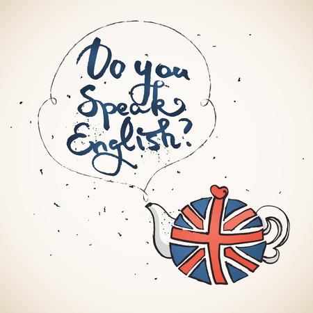 Concetto di studiare l'inglese o in viaggio. Frase parli inglese sopra teiera con bandiera britannica.
