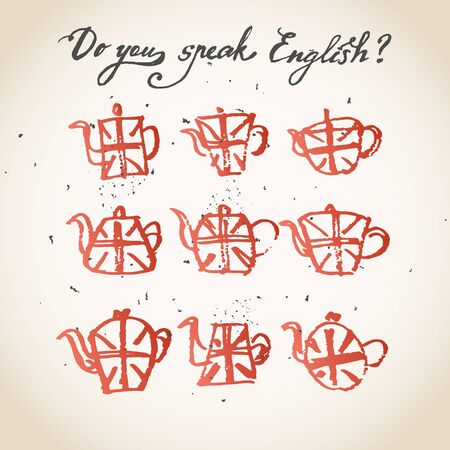 speak english: Concept of studying English or travelling. Phrase Do you speak English above set of hand drawn teapots with british flag.