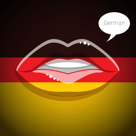 german flag: German language concept. Glamour lips with make-up of the  German flag, woman face. Flat design, illustration.