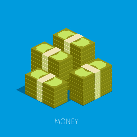 pile of money: Concept of big money. Big pile of cash. Hundreds of dollars. isometric illustration. Illustration