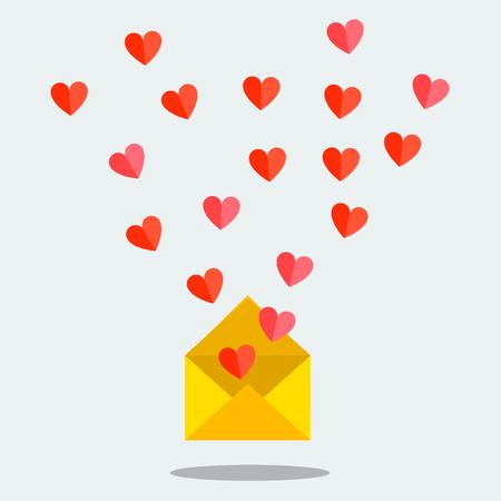Valentines day illustration. Receiving or sending love emails and sms for valentines day, long distance relationship. Flat design, illustration Illustration