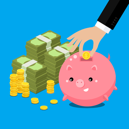 hum: Keep money concept. Cute fat piggy bank with hand collecting money. Flat illustration. Illustration