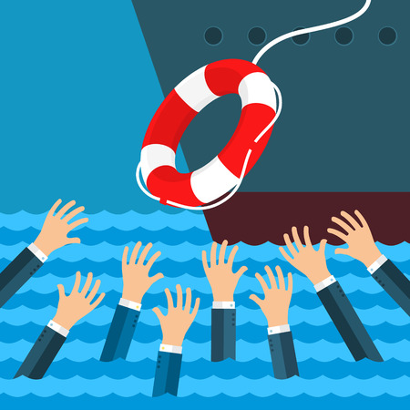drowning: Helping Business survive. Drowning businessman getting lifebuoy from big ship for help, support, and survival. Flat design, illustration.