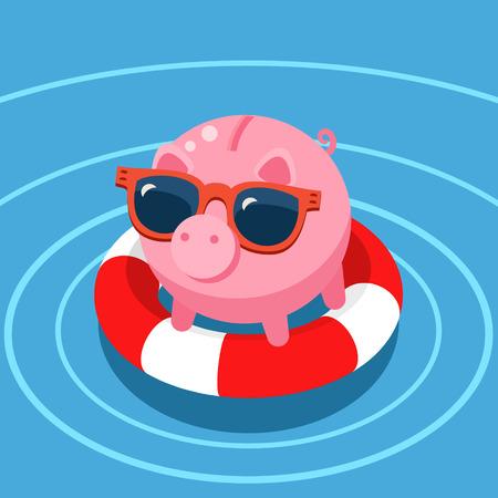protruding eyes: Concept of deposit . Pig piggy bank in the lifebuoy.  Flat design, illustration. Illustration