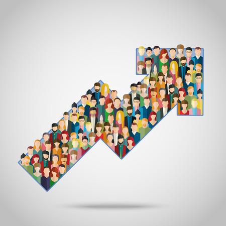 고객과 고객을 비즈니스로 끌어들이는 개념. 사람들의 군중과 화살표입니다. 일러스트