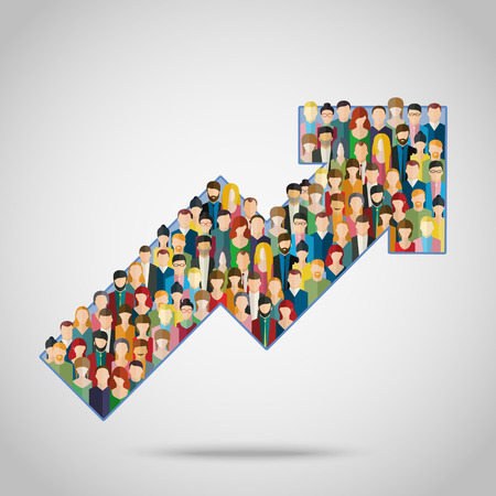 Concept of attracting customers and clients to business. Arrow with crowd of people.