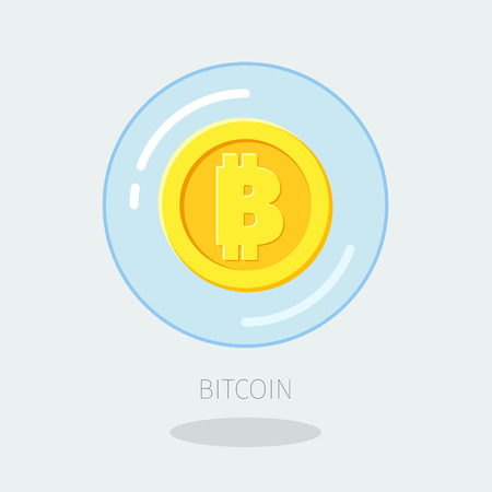 crypto: Concept of digital currency. Golden Bitcoin in a bubble.