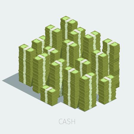pile of money: Concept of big money. Big pile of cash. Hundreds of dollars.