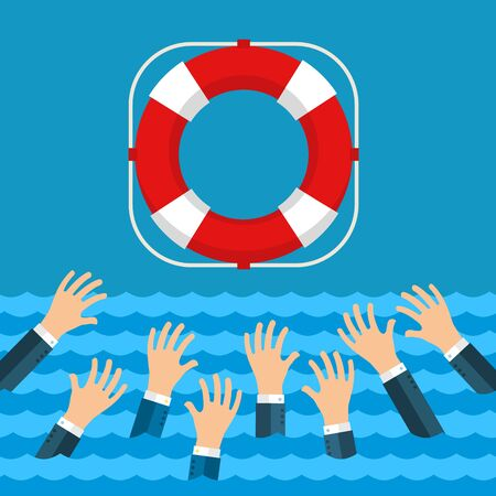 survive: Helping Business survive. Drowning businessman getting lifebuoy from big ship for help, support, and survival.