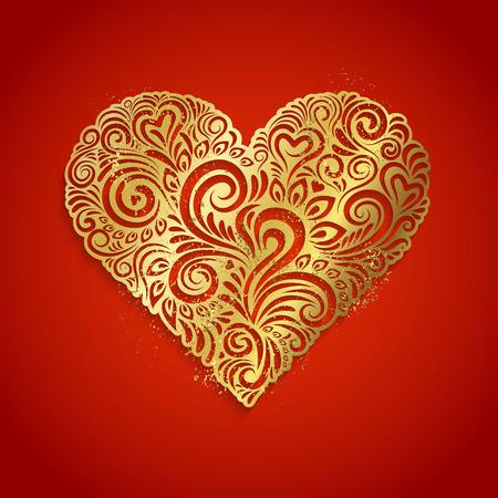 golden heart: Golden heart on red background