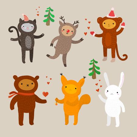 Set van schattige dieren. Platte ontwerp, vector illustratie