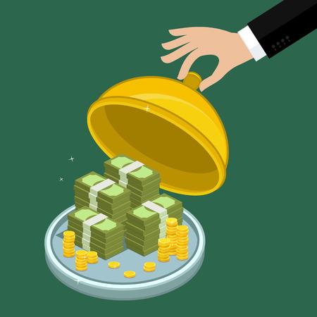 pile of money: Concept of big money. Big pile of cash. Hundreds of dollars. Vector isometric illustration. Illustration