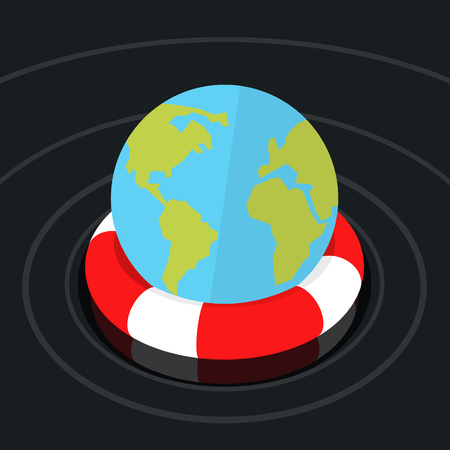 Concept of environmental protection. Globe Earth in lifebuoy. Flat design, vector illustration. Illustration