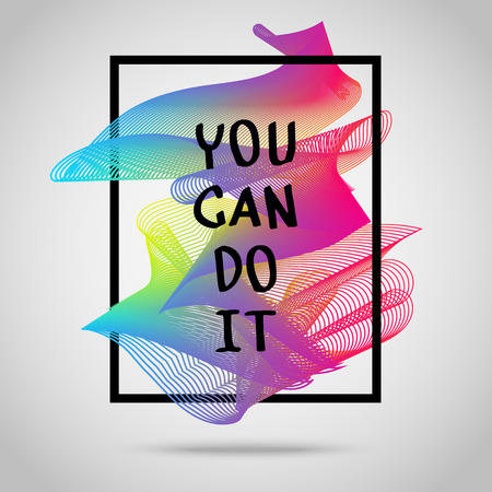 you can do it: You can do it. Inspirational quote vector illustration poster. Motivation lettering. Typographical poster template.