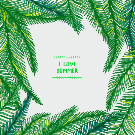 philodendron: Hand drawn frame of palm leaves on white background. Fashion tropical vector illustration. Illustration