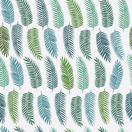 philodendron: Hand drawn palm leaves on white background. Fashion seamless pattern. Tropical vector illustration.