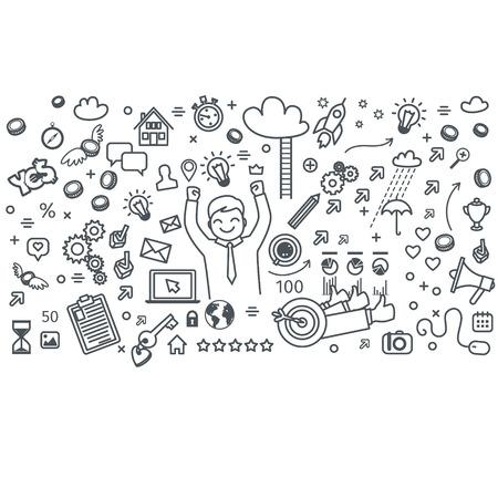 Concept of digital marketing. Business doodles. Vector illustration