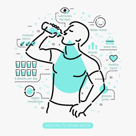 물을 마시는의 장점의 개념입니다. 사람이 마시는 물. 일러스트