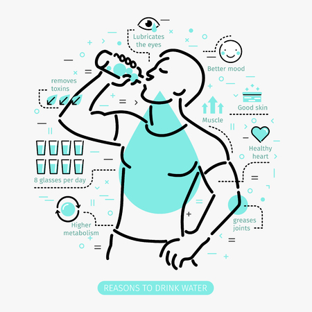 Concept of The Benefits of Drinking Water. Man drinking water. Çizim