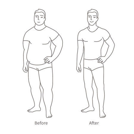 liposuction: Concept of diet. Man before and after a diet. Flat design, vector illustration.