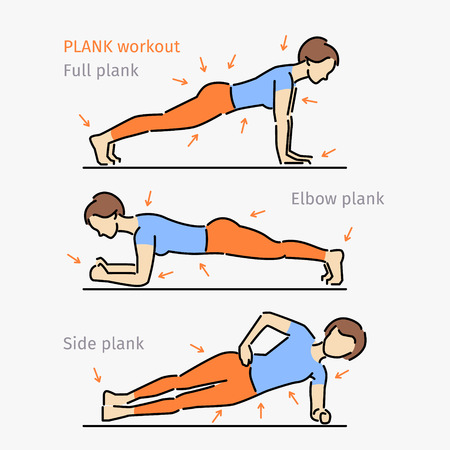 core: Plank workout. Woman making perfect body with the plank exercise.