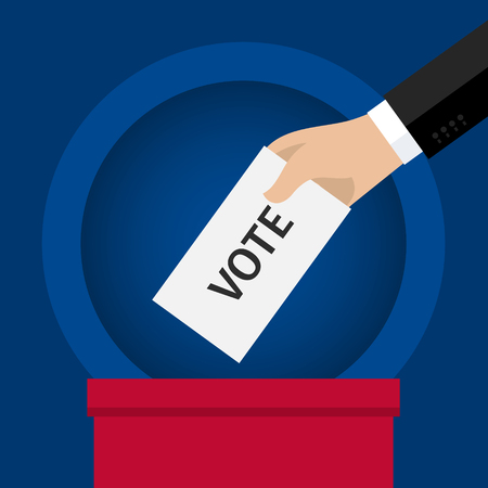 balloting: Concept of voting. Hand putting voting paper in the ballot box. Flat design, vector illustration.
