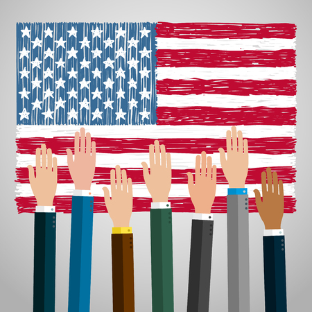 voting hands: Concept of voting. Hands raised up, election day campaign. Flat design, vector illustration.