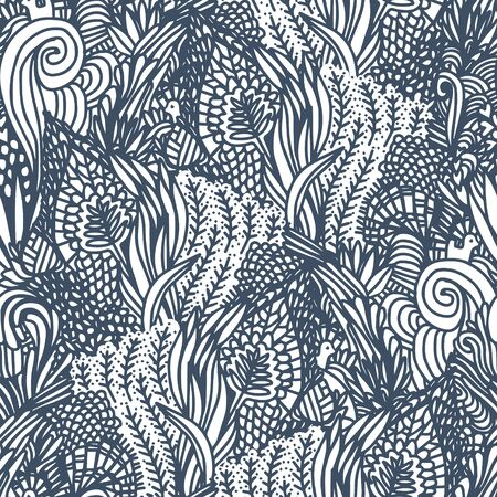 swatch book: Seamless floral pattern. Hand drawn floral texture, coloring book, monochrome background