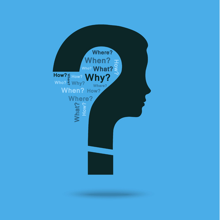 unsolvable: Concept of question. Question mark with woman head symbol and question words. Flat design, vector illustration.