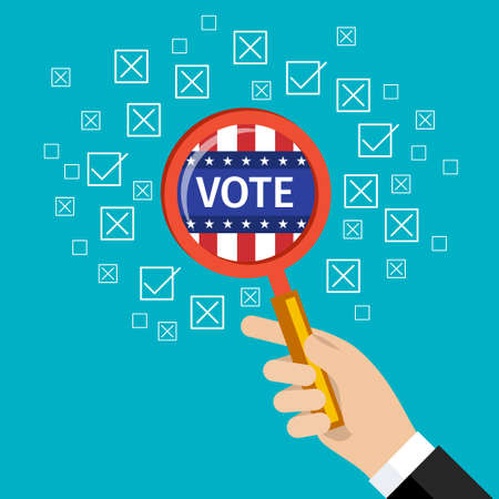 voting: Concept of voting. US Presidential election 2016. Flat design, vector illustration.