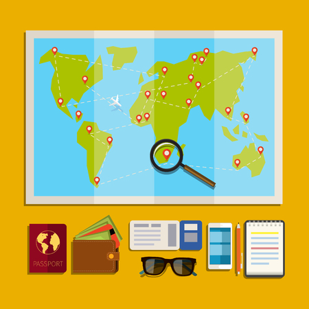 low cost: Concept of planning vacation. Preparation for travel, cell phone, money, passport, map on yellow background. Flat design, vector illustration. Illustration