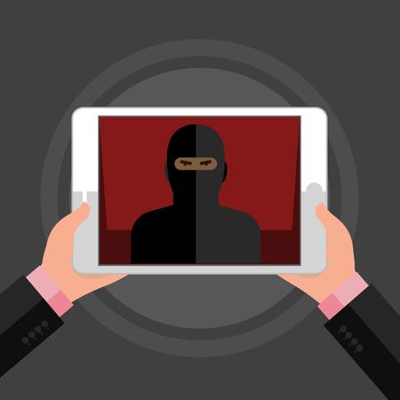 felon: Concept of terrorism. Man hold tablet with icon of terrorist on screen. Flat design, vector illustration.