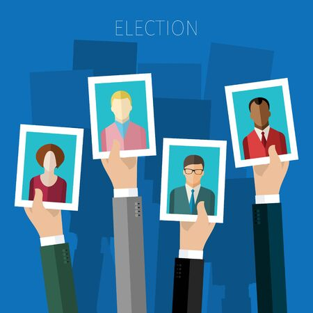 candidates: Concept of election. Hands hold portraits of candidates, election day campaign. Flat design, vector illustration.
