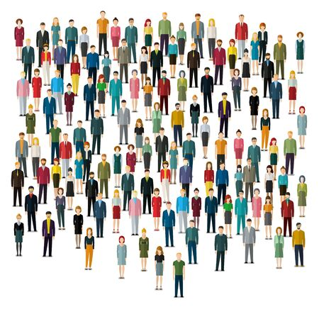 Urban lifestyle concept. A large group of people on white background. Flat design. Vector illustration.