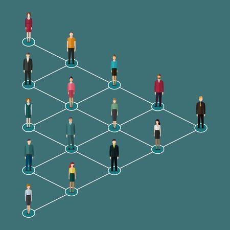 redes de mercadeo: Concepto de la red de comercialización. Ilustración vectorial de un líder y un equipo. Diseño plano.