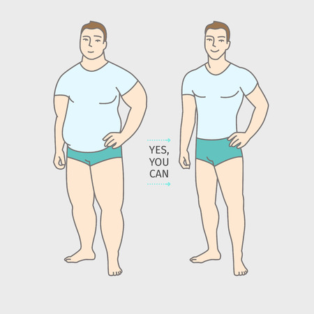 Concept of diet. Man before and after a diet. Flat design, vector illustration.